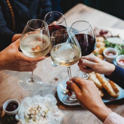 Friends raising a glass